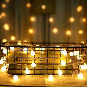 Guirlande Lumineuse Exterieure Guirlande Guinguette - 10M 80 Ampoules Guirlande Lumineuse LED à Piles Petites Boules Blanc Chaud Décoration Romantique pour Fête Noël Mariage Anniversaire Soirée Party de la marque Sunnest image 0 produit