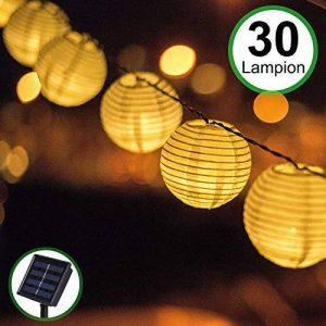 Guirlande Lumineuse Lampe Solaire Exterieur Jardin, Bawoo 30 LEDs 5.5M mpe Lampion Décoration Guirlande Guinguette Lanternes Solaire Etanche IP65 de Soirée Mariage Anniversaire Festivale Jardin Magasin Maison - Blanche Chaude de la marque Bawoo image 0 produit