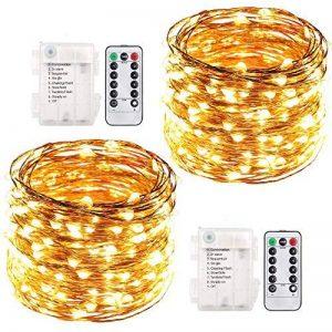 Guirlande Lumineuse LED, ACDE [2 Pack] 10M 100 LEDs Lumière Décorative Fonctionnant sur Batterie, Imperméable 8 Modes Télécommande - Jaune Chaud de la marque ACDE image 0 produit