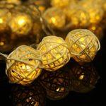 Guirlande lumineuse LED avec 30 Boules de Rotin 6M imperméable 8 modes pour Secteur Prise Européen Intérieur Extérieur, Jardin, Fête, Décoration Noël, Mariage, Nouvel An, Soirées, Chambres (Blanc Chaud) de la marque Pomelo Best image 3 produit