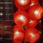 Guirlande Lumineuse LED, Morbuy Lumineuse Boule Cosy Coton LED Batterie Éclairage Matériau En PVC 6cm Balle Ficelle Lumière Couleur Décoration Pour La Saint Valentin Noël Fêtes Mariage d'autres F (Rouge, 3.3m / 20 Boule lumière) de la marque Morbuy image 3 produit