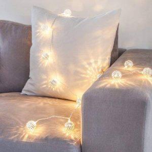 Guirlande Lumineuse Marocaine 16 Boules Argentées LED Blanc Chaud pour Intérieur Lights4fun de la marque Lights4fun image 0 produit