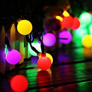 Guirlande Lumineuse Solaire 60 Boule LED, 10m Fil Souple Imperméable 8 Modes Eclairage Décoration pour Maison, Jardin, Festival etc (Multicolore) de la marque GRDE image 0 produit
