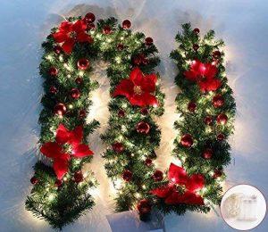 Guirlandes Couronnes 2.7 Mètres Fenêtre Porte Escalier Escalier Cheminée Arbre De Noël Boutique Hôtel Décoration De Bureau Fleur De Noël Avec La Lumière, Rouge Avec La Lumière de la marque WDDOPEN image 0 produit