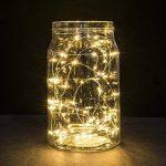 Guirlandes, Ryham 100 LED Rope 10M 32.8ft de mariage de Noël Lampe fil Lumières à piles long fil de cuivre pour la maison Chambre Arbre Partie, blanc chaud de la marque Ryham image 1 produit