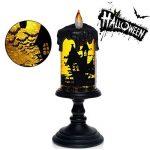 Halloween Lamp, Accueil impressions, Tous les saints lampe Halloween led lanterne, pour le festival spécial décoration et cadeaux jour, avec l'éclairage de la technologie de spin Glitter Tornadoes conduit, à piles, bougies sans flamme à Bat, 4x10 pouces d image 1 produit