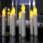Hansemay Ensemble sans Flammes DE 12 Bougies LED Taper, Ampoules Clignotantes Jaunes Piles LED Pilier pour décoration intérieure Anniversaire, Églises, Fêtes et Noël, Piles Non incluses de la marque Hansemay image 2 produit