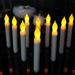 Hansemay Ensemble sans Flammes DE 12 Bougies LED Taper, Ampoules Clignotantes Jaunes Piles LED Pilier pour décoration intérieure Anniversaire, Églises, Fêtes et Noël, Piles Non incluses de la marque Hansemay image 4 produit