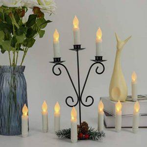 HanSemay Ensemble sans flammes de 12 bougies LED Taper, Ampoules clignotantes jaunes Piles LED pilier pour décoration intérieure Anniversaire, Églises, Fêtes et Noël, Piles non incluses (12pcs Long) de la marque Hansemay image 0 produit