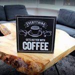 Hansmeier Café Pancarte en bois - Décoration pour la cuisine de cuisine à suspendre - 30 x 30 cm - Décoration Maison - Vintage Signs pour Home - Café de la marque Hansmeier image 1 produit