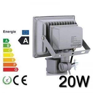 Himanjie 20W Étanche IP65 Lumière Blanc Froid LED Projecteur ,Extérieur et Intérieur avec Détecteur- pour Jardin, Terrasse, Square,Cour,Usine [Classe énergétique A+] de la marque Himanjie image 0 produit
