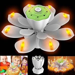 Homecube LED Bougies d'anniversaire, Bougies à LED Musique Romantique Fleur de Lotus Rotatif Lumière de Bougie sans Flamme 3 Modes d'Eclairage Joyeux Anniversaire Spécial LED Parti de la marque Homecube image 0 produit