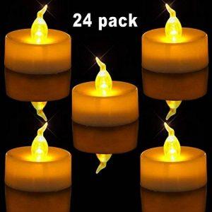 Homemory Lot de 24 Lumières Bougies à LED, Sans Flamme, Réaliste et Bright, Puissance de la Batterie, Fausses Bougies électriques pour Votive, Table Party Anniversaire Mariage(jaune clair) de la marque Homemory image 0 produit