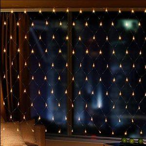 IMAGE 4,5m * 1,5m 300 LED Guirlande Lumineuse Filet Rideau de Lumière Féeriques Eclairage Décoration Bonne Luminosité et Faible Puissance avec 8 Modes de Fonctionnement Pour Fête Mariage Blanc Chaud de la marque AGPTEK image 0 produit