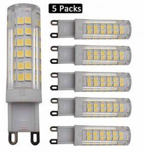 JCKing (Paquet de 5) Ampoule à économie d'énergie 7W G9 75 SMD 2835 LED, AC 220-240V Blanc naturel 4000-4200K 480LM, 60W Ampoule halogène équivalente à LED G9 Spotlight Lamp de la marque JCKing image 0 produit