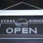 Jintora Neon Sign - Enseigne au Néon - Open Kebab Burger - Kebab Burger Ouvert - Fête, discothèque, Club, Bistro, Restaurant, Magasin de la marque Jintora image 1 produit