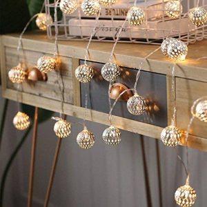 JMEXSUSS 10 LED 6.6ft à piles marron argent fer boule fée guirlandes lumières pour noël, fête, mariage blanc chaud guirlandes lumineuses (Ballon, 10LED) de la marque JMEXSUSS image 0 produit