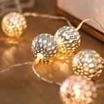 JMEXSUSS 10 LED 6.6ft à piles marron argent fer boule fée guirlandes lumières pour noël, fête, mariage blanc chaud guirlandes lumineuses (Ballon, 10LED) de la marque JMEXSUSS image 2 produit