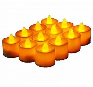 JZK® 12 x Bougie LED Flamme Vacillante chauffe plat avec pile pour extérieur intérieur décorations pour jardin, chambre, mariage, Noël, Halloween, ou diverses fêtes et occasions, jaune de la marque JZK image 0 produit