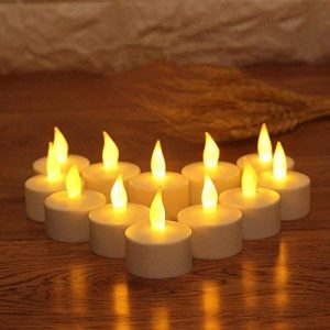JZK 12 x Bougie LED Flamme Vacillante chauffe plat avec pile pour extérieur intérieur décorations pour jardin, chambre, mariage, Noël, Halloween, ou diverses fêtes et occasions, jaune de la marque JZK image 0 produit