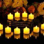 JZK® 12 x Bougie LED Flamme Vacillante chauffe plat avec pile pour extérieur intérieur décorations pour jardin, chambre, mariage, Noël, Halloween, ou diverses fêtes et occasions, jaune de la marque JZK image 1 produit