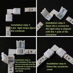 KINYOOO 10 PCS connecteurs de bande LED 5050 RGB en forme 10 mm, 10 PCS L Raccord d'angle de Raccord Rapide LED, Ce kit est facile à installer et facile à appliquer. de la marque KINYOOO image 1 produit