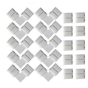 KINYOOO 10 PCS en Forme de L Raccord d'angle de Raccord Rapide LED 4 Pin, 10 PCS 4 Pin LED Bande de Connecteur, pour les Strip LED SMD 5050 RGB de 10mm de large (Blanc) de la marque KINYOOO image 0 produit