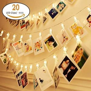 KNONEW LED Photo Clip String Lights - 20 clips photo 2.4M Battery Powered LED Éclairage d'image pour la décoration suspendue Photo, Notes, Artwork (Warm-White) de la marque KNONEW image 0 produit