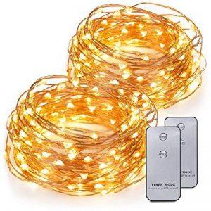Kohree Guirlande Lumineuse LED Fil Cuivre Guirlande Lumineuse à Piles 120 LED 6M Avec Télécommande de la marque Kohree image 0 produit
