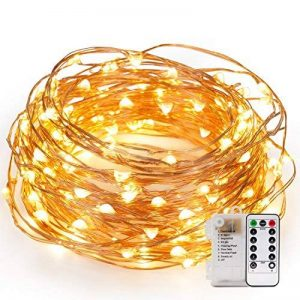 Kohree Guirlandes Lumineuses Pile LED Etanche Imperméable 12M 120 leds avec Télécommande Fil cuivre 8 Mode Elairage Blanc Chaud de la marque Kohree image 0 produit