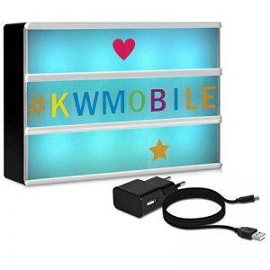 kwmobile Boîte lumineuse LED A6 avec changement de couleur - avec 7 couleurs et 126 caractères colorées prise micro USB tableau cinéma - Décoration lumineuse fonctionnement sur batterie de la marque kwmobile image 0 produit