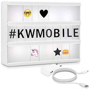kwmobile Light box LED A4 boîte lumineuse - 378 caractères et chiffres + symboles Emoji - Bloc secteur - Lampe décoration light box - lampe cinéma de la marque kwmobile image 0 produit