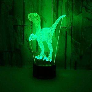 Lampe D'illusion Optique 3D Dinosaure Géant LED Night Lights,USB Lampe De Bureau À Table Tactile Décoration D'intérieur 7 Couleurs Éclairage Unique Effets Pour Cadeau De Noël Pour Enfants de la marque YUN Night Light@ image 0 produit
