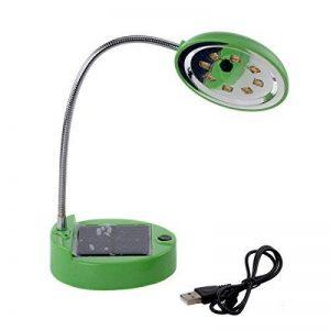 Lampe de table solaire, DINOWIN USB Rechargeable Portable Flexible Gooseneck 8LED Mini lampe de bureau solaire Éclairage de lecture intérieur, Lampes de lecture de chevet (vert) de la marque DINOWIN image 0 produit