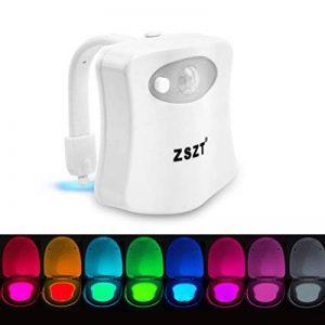 Lampe de Toilette ZSZT Veilleuse LED pour WC Salle de Bain Capteur Détecteur PIR 8 Changement de Couleurs Éclairage (seulement s'active dans l'obscurité) de la marque ZSZT image 0 produit
