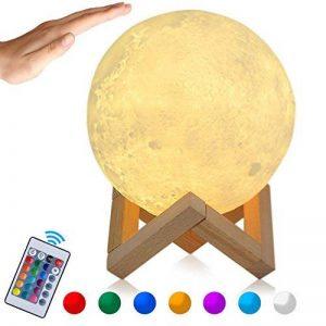 Lampe Lune 3D, Veilleuse LED Lampe Lune 15CM avec Télécommande, Lampe de nuit RGB Moonlight avec Interrupteur Tactile Gradable à Piles, avec Minuterie, USB Rechargeable de la marque GEEDIAR image 0 produit