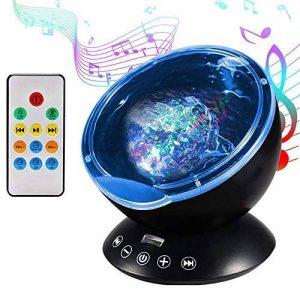 Lampe Projecteur LED, Simulation des Vagues Océan 7 Modes Veilleuse de Nuit avec Télécommande Mini Enceinte Intégrée (Noir) de la marque GRDE image 0 produit