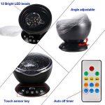 Lampe Projecteur LED, Simulation des Vagues Océan 7 Modes Veilleuse de Nuit avec Télécommande Mini Enceinte Intégrée (Noir) de la marque GRDE image 1 produit