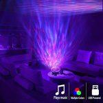 Lampe Projecteur LED, Simulation des Vagues Océan 7 Modes Veilleuse de Nuit avec Télécommande Mini Enceinte Intégrée (Noir) de la marque GRDE image 4 produit