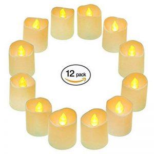 Lampes à thé à LED à batterie 12Pcs, petite bougie à thé électrique Falsique, Sans Flamme Bougie à Boucles d'oreille Votive à lumière chaude et scintillante pour fêtes, décoration intérieure, mariages et fêtes de la marque QHYK image 0 produit