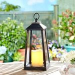 Lanterne Antique avec Bougie LED Blanc Chaud Effet Vacillant 30 cm à Pile Intérieur Extérieur (Bronze) de la marque Festive Lights image 1 produit