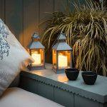 Lanterne Intérieur Extérieur - Gris Effet Métal Vieilli avec Bougie Cire Véritable 24cm à Piles Waterproof - Parois en Verre de la marque Festive Lights image 2 produit