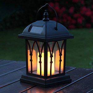 Lanterne Solaire Décorative Noir Mat avec Bougie LED Effet Vacillant (Pile Rechargeable Incluse) Waterproof - 27cm de la marque Festive Lights image 0 produit