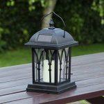 Lanterne Solaire Décorative Noir Mat avec Bougie LED Effet Vacillant (Pile Rechargeable Incluse) Waterproof - 27cm de la marque Festive Lights image 2 produit