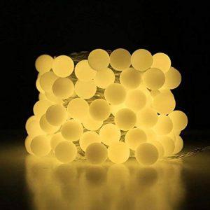 LE Lighting EVER Guirlande Lumineuse LED 10m, 100 Boules, Lumière Blanc Chaud, 8 Modes, pour Décoration Intérieure, Chambre, Terrasse, Parasol, Café, Bistrot de la marque Lighting EVER image 0 produit
