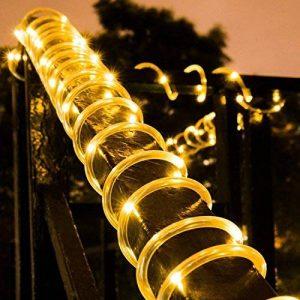 LED Guirlande lumineuse,KINGCOO Etanche 39ft 12M 100 LED conduit à énergie solaire tuyau souple Tube Rope Fil de cuivre de Noël étoilées de lumières pour le mariage Outdoor Garden Party (Blanc chaud) de la marque KINGCOO image 0 produit