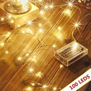 Led guirlandes de lumières 100 leds fées décoratives à piles, lumière de fil de cuivre pour chambre à coucher, mariage (33ft / 10m blanc chaud) de la marque Makion image 0 produit