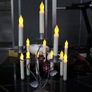 LED Longue Bougies Sans Flamme Cône Lot de 12PCS Taper Bougies de Chandelier 2XAA Batterie Pour Noël Décoration Festive 16.5X2 cm - Pas de Batterie (Longue) de la marque Lee's Relief Bazaar image 0 produit