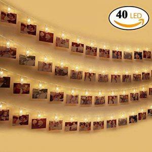 LED Photo Clip Guirlande Lumineuse, otumixx 40 Photo Clips 4,2M Batterie Alimenté LED Photo Clips Lumière Chaînes Éclairage d'ambiance décoration pour photo suspendu Memos oeuvres d'art - Blanc Chaud de la marque otumixx image 0 produit