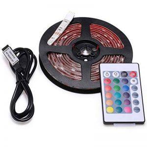 LED Ruban, AVAWAY 2 Metre SMD5050 5V/1A RGB LED Bande 30LEDs/Metre + 24 clés télécommande + USB câble, soin des yeux Ruban à LED Décoration pour TV, armoire, ordinateur. de la marque AVAWAY image 0 produit